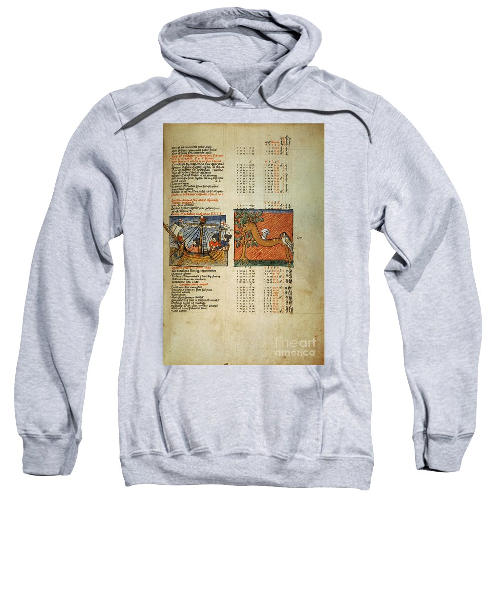 1490 Sweatshirt featuring the photograph Ptolemy: Almagest, 1490 by Granger