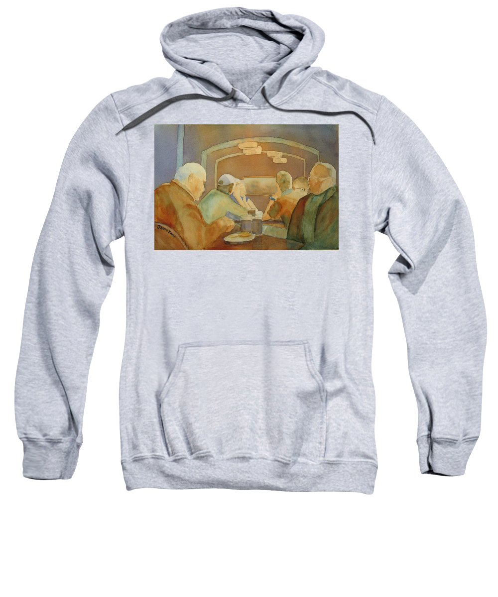 Men Sweatshirt featuring the painting Pub Talk II by Jenny Armitage