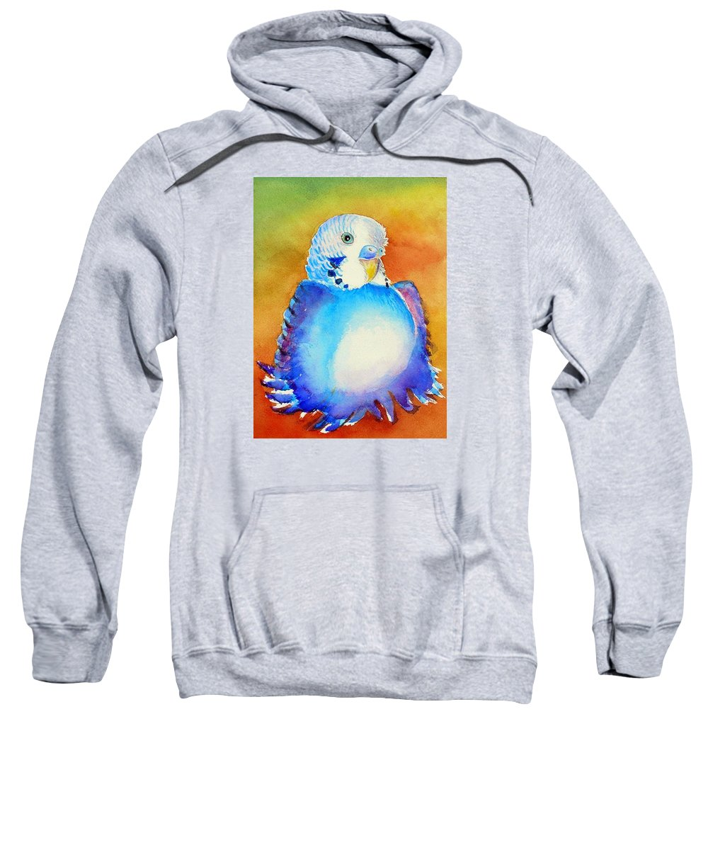 Birds Sweatshirt featuring the painting Pudgy Budgie by Patricia Piffath