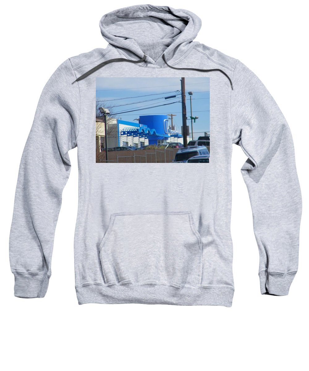Abstract Sweatshirt featuring the photograph Pueblo Downtown Dealership by Lenore Senior