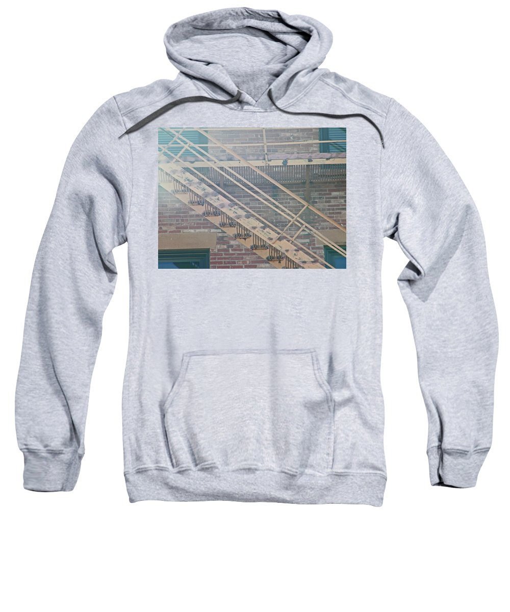 Abstract Sweatshirt featuring the photograph Pueblo Downtown Fire Escape by Lenore Senior