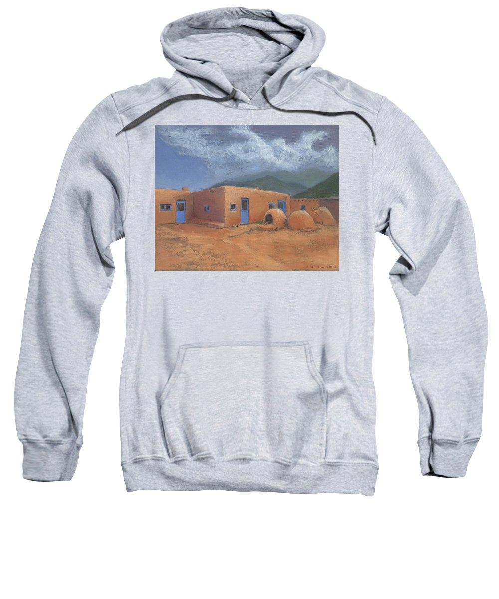 Taos Sweatshirt featuring the painting Puertas Azul by Jerry McElroy