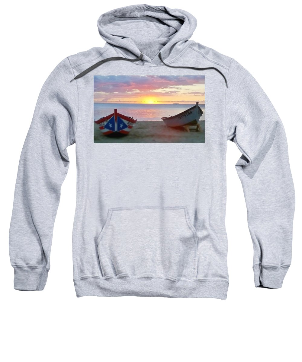 Sunset.seascape Sweatshirt featuring the photograph Puerto Rico Sunset On The Beach by Sheryl Chapman Photography
