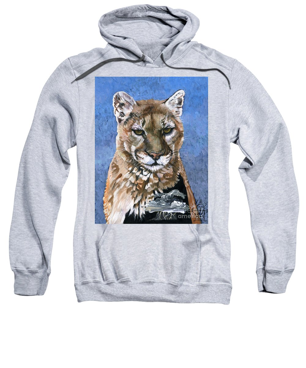 Puma Sweatshirt featuring the painting Puma - The Hunter by J W Baker