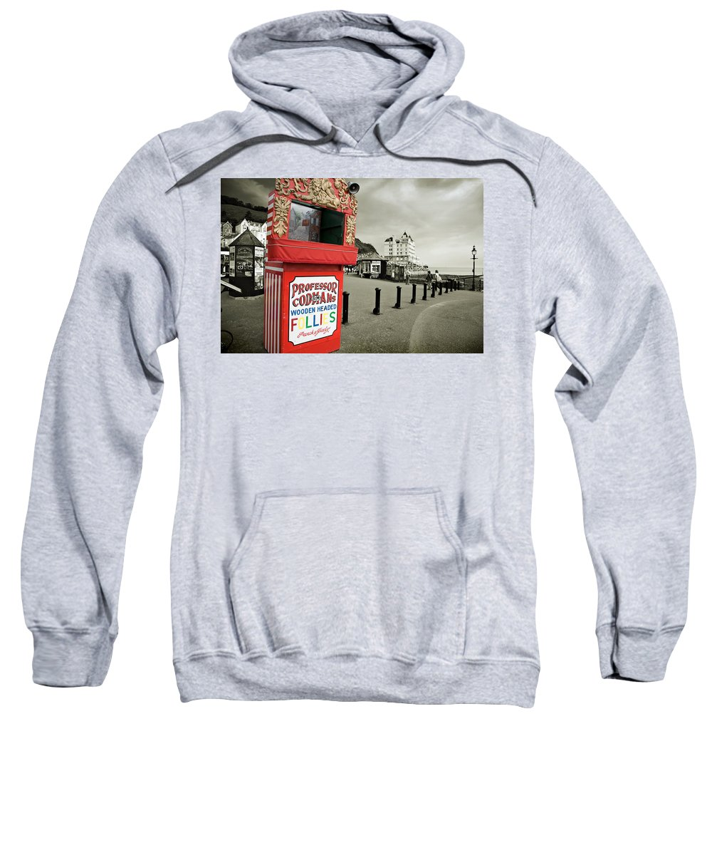 Punch And Judy Sweatshirt featuring the photograph Punch And Judy Theatre On Llandudno Promenade by Mal Bray
