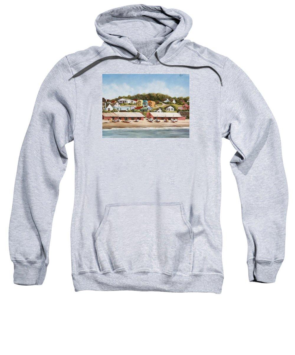 Landscape Seascape Uruguay Sea Seaside Boats Sweatshirt featuring the painting Punta Del Diablo 2 by Natalia Tejera