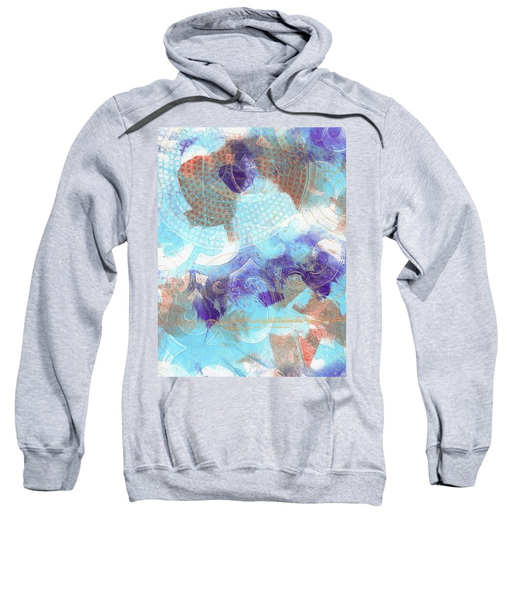 Purple Sweatshirt featuring the painting Purple And Blue In The Round by Cynthia Westbrook