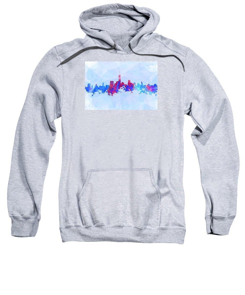 Purple And Blue New York Skyline Sweatshirt featuring the digital art Purple And Blue New York Skyline by Alex Antoine