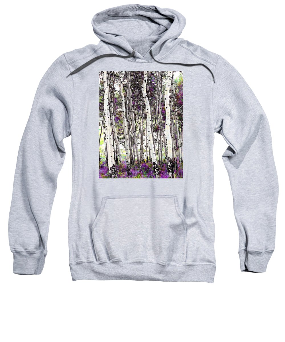 Aspen Trees Sweatshirt featuring the photograph Purple Aspens by LeAnne Perry