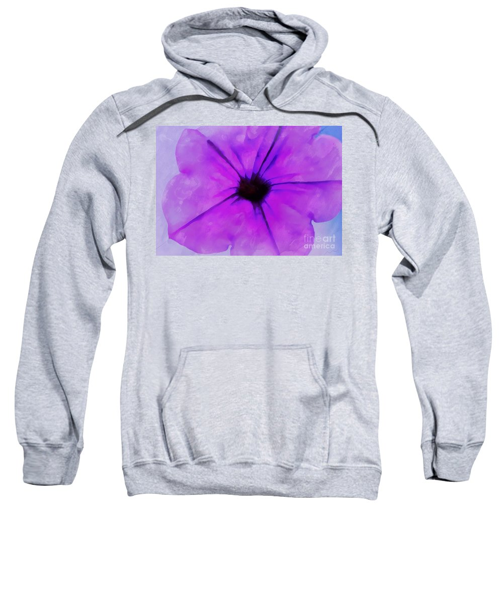 Petunia Sweatshirt featuring the photograph Purple Breeze by Krissy Katsimbras