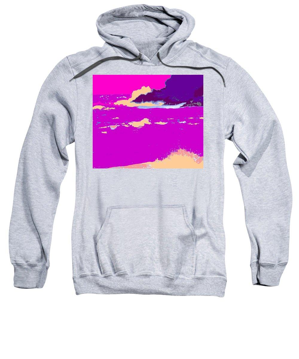Waves Sweatshirt featuring the photograph Purple Crashing Waves by Ian MacDonald