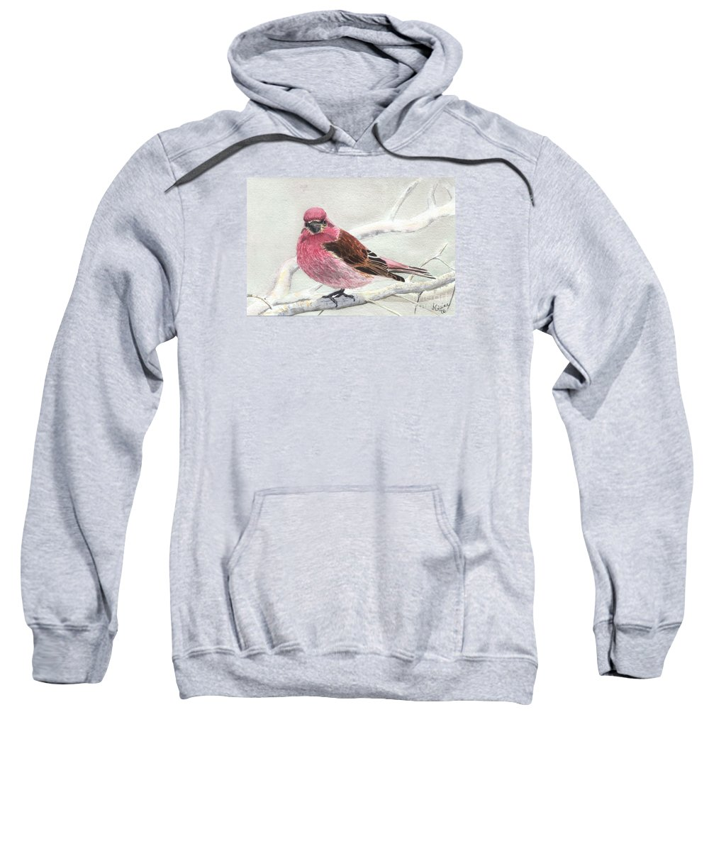 Bird Sweatshirt featuring the painting Purple Finch by Lynn Quinn