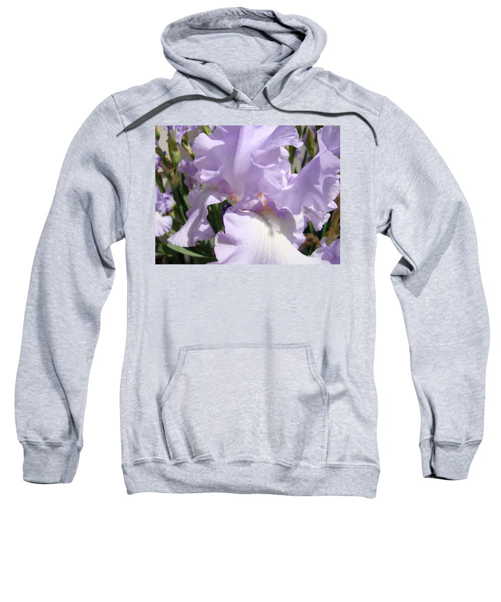 �irises Artwork� Sweatshirt featuring the photograph Purple Irises Artwork Lavender Iris Flowers 13 Botanical Floral Art Baslee Troutman by Baslee Troutman