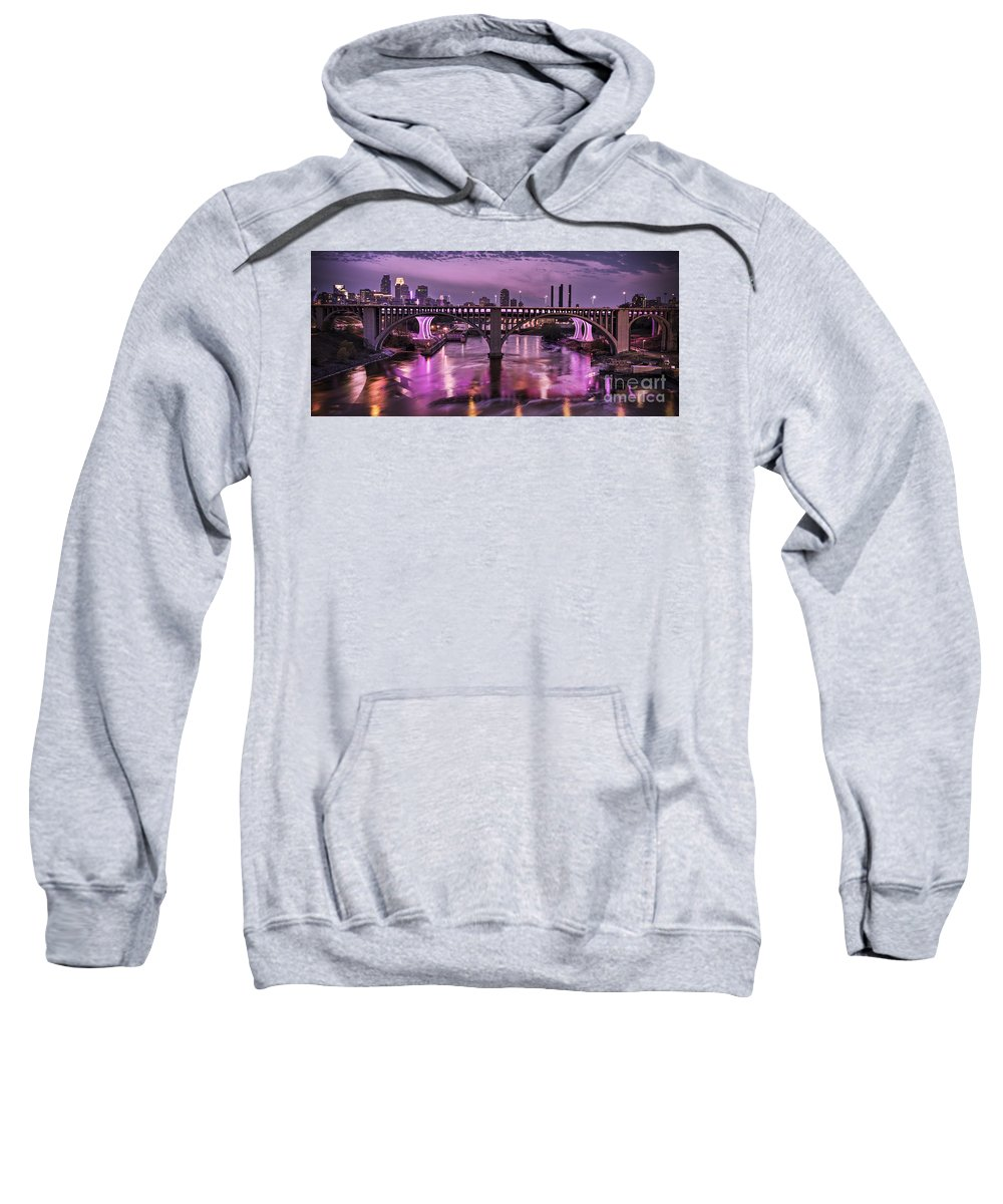 Minneapolis Skyline Sweatshirt featuring the photograph Purple Minneapolis For Prince by Joe Mamer