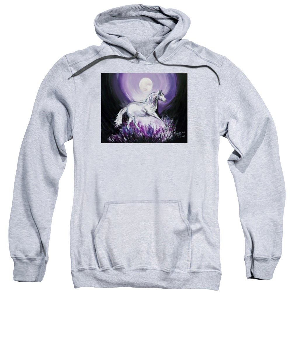 Horse Sweatshirt featuring the painting Purple Moon by Melissa Young