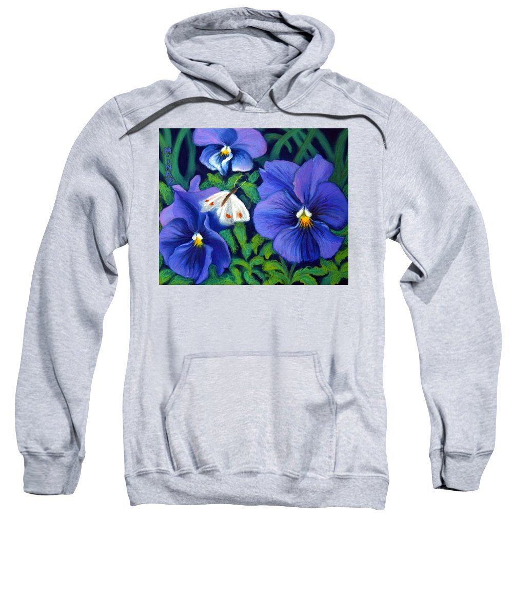 Pansy Sweatshirt featuring the painting Purple Pansies And White Moth by Minaz Jantz