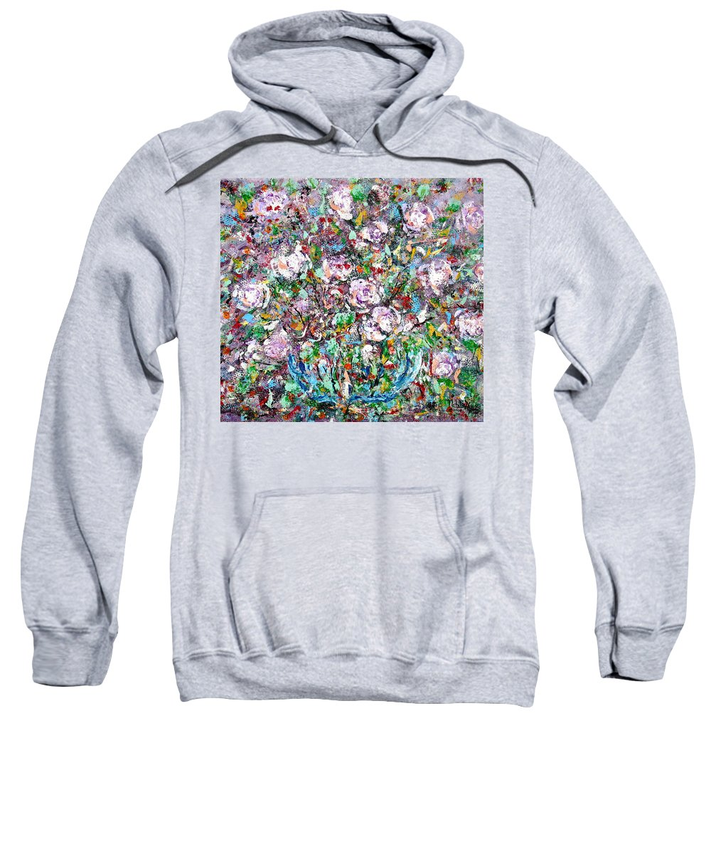 Abstract Sweatshirt featuring the painting Purple Passions by Natalie Holland