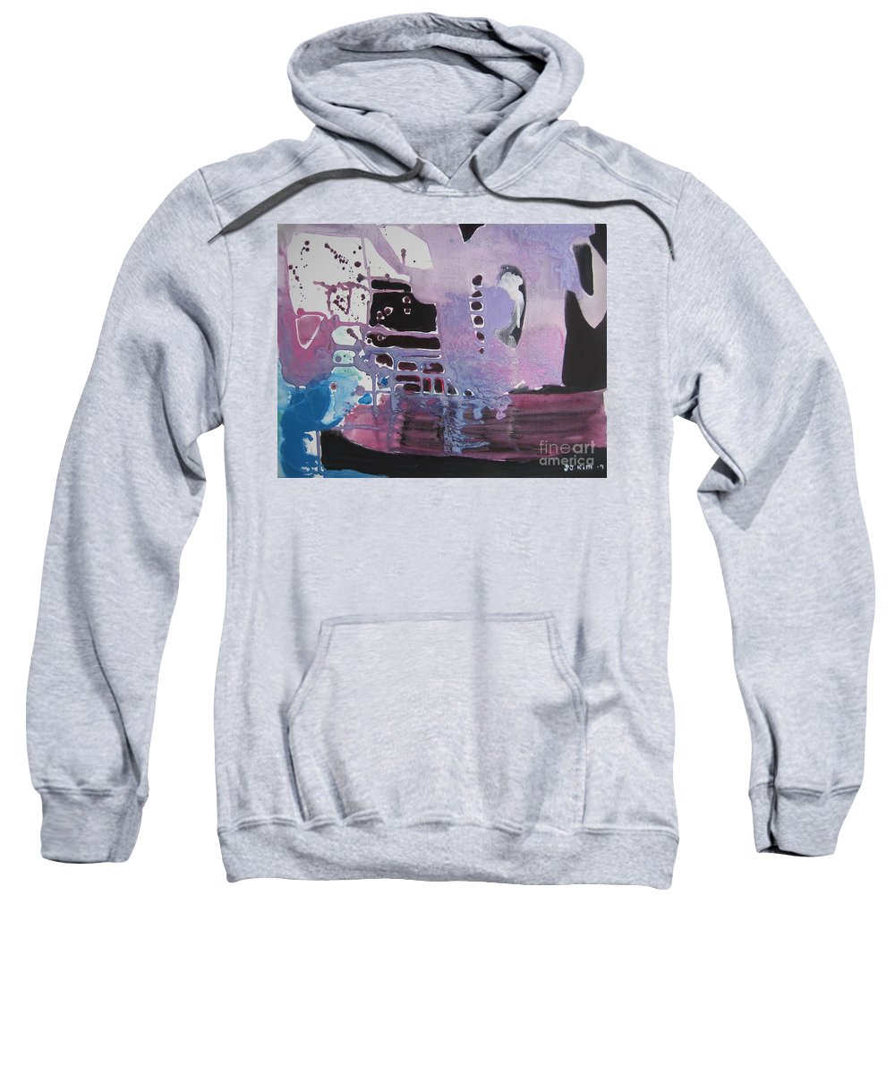 Abstract Paintings Sweatshirt featuring the painting Purple Seascape by Seon-Jeong Kim