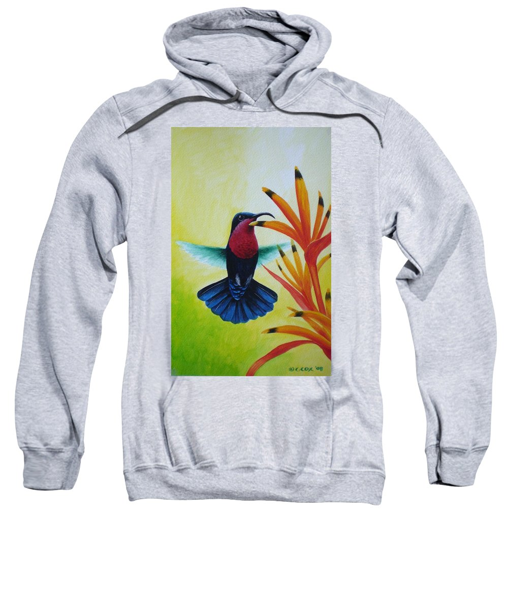 Purple-throated Carib Sweatshirt featuring the painting Purple-throated Carib And Bird Of Paradise by Christopher Cox