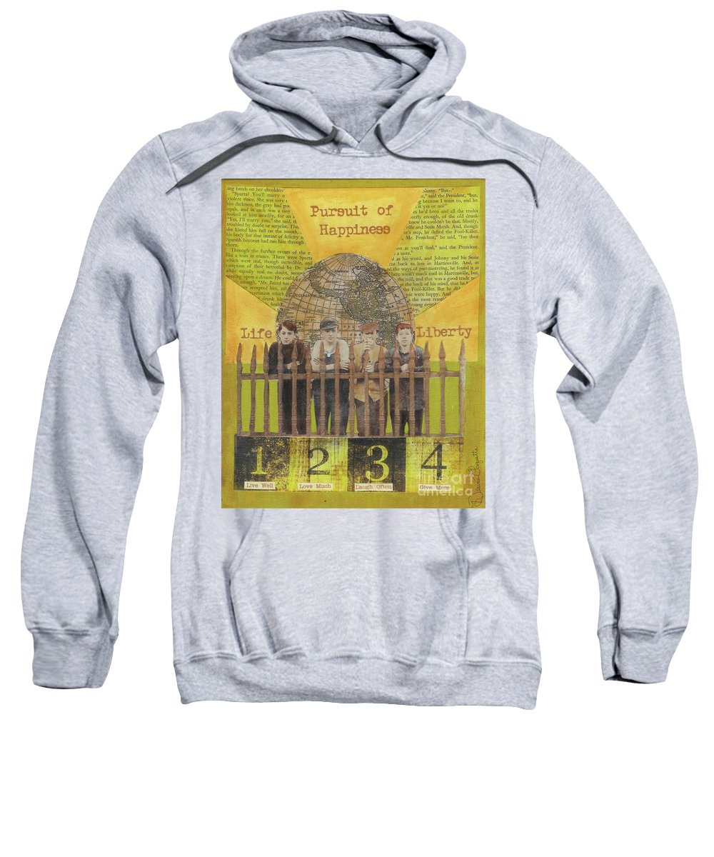 Gold Sweatshirt featuring the mixed media Pursuit Of Happiness by Desiree Paquette