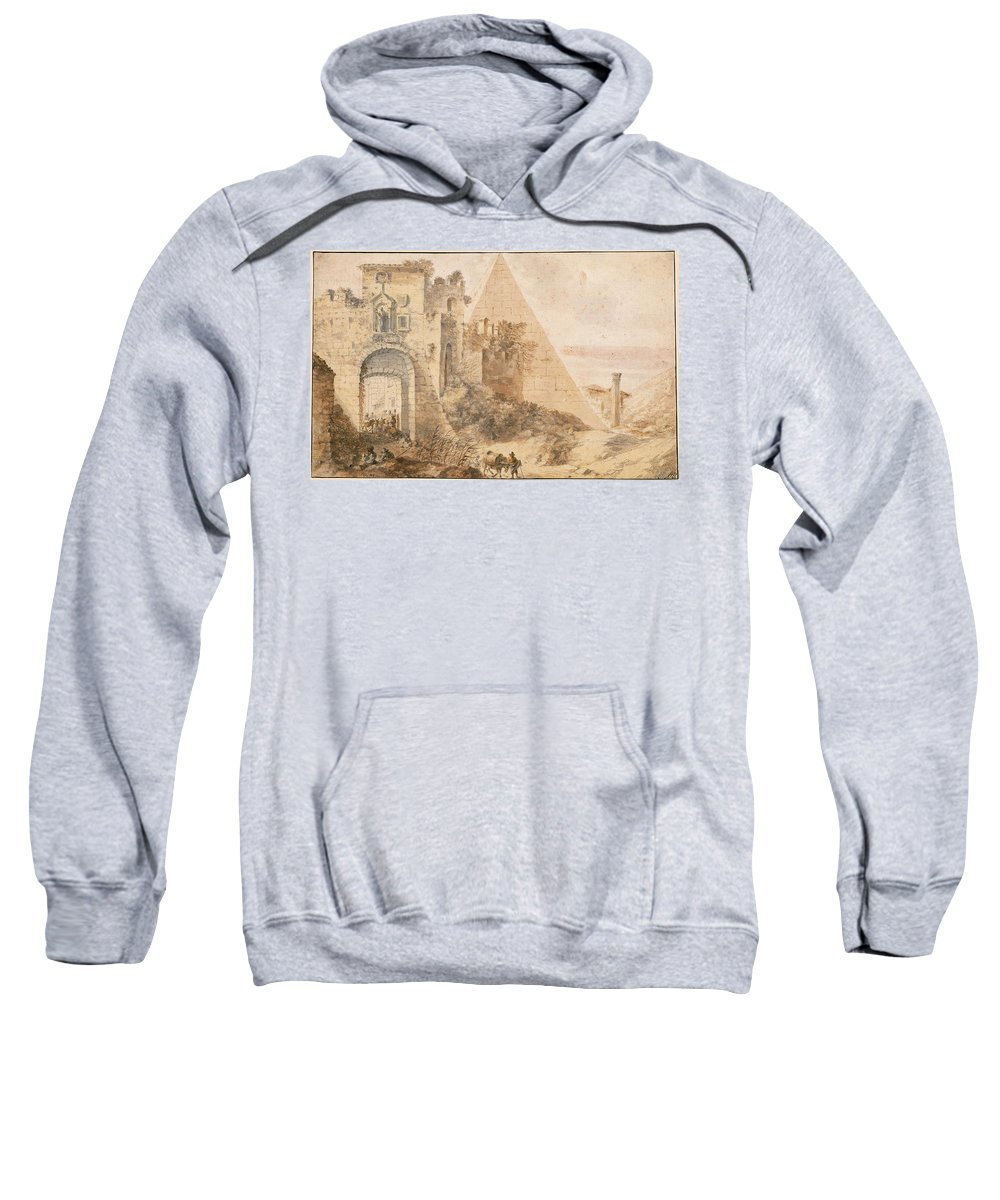 Pieter Moninckx Sweatshirt featuring the drawing Pyramid Of Cestius And The Porta San Paolo, Rome by Pieter Moninckx