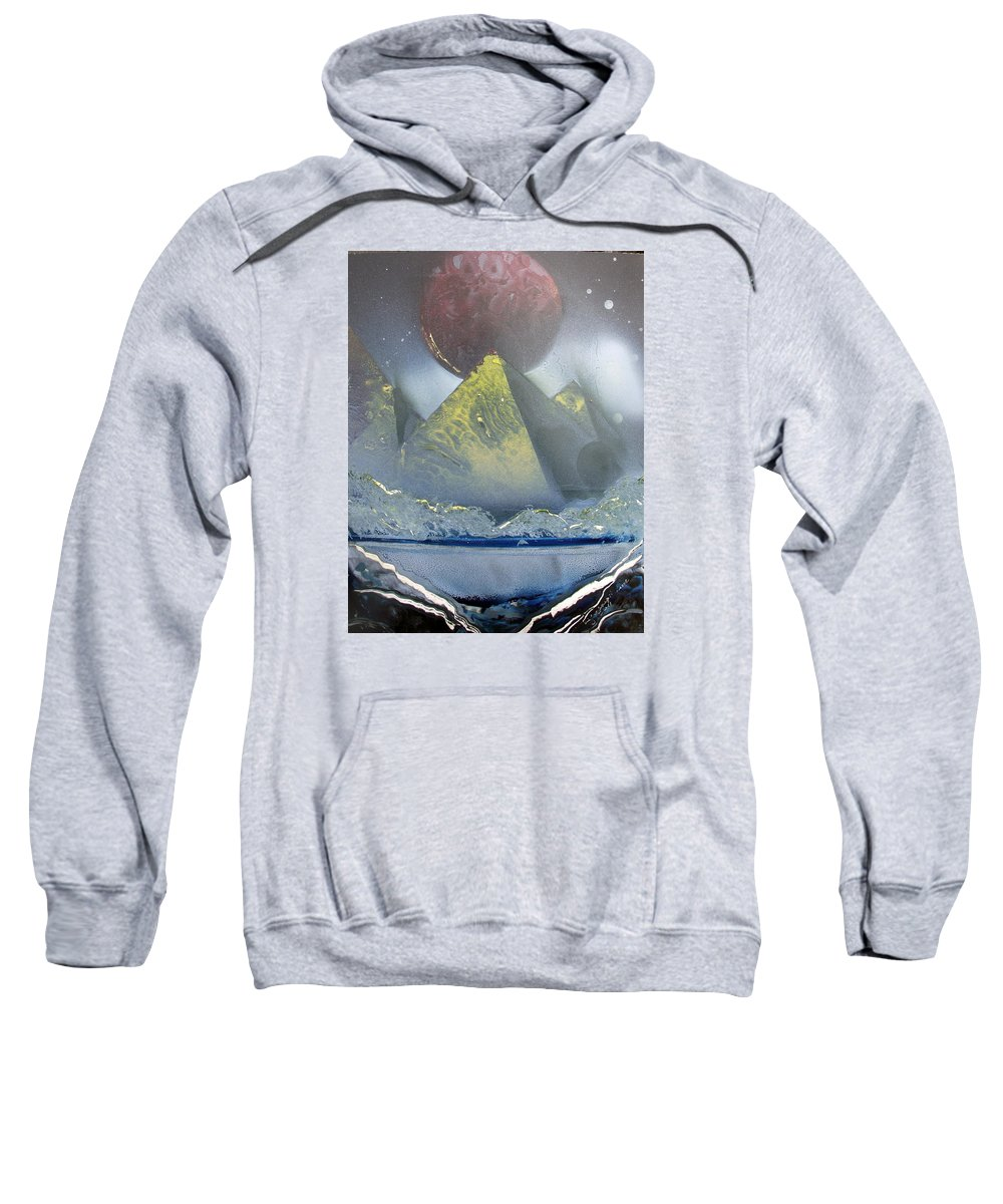 Pyramids Sweatshirt featuring the painting Pyramids Of The Red Moon by Arlene Wright-Correll