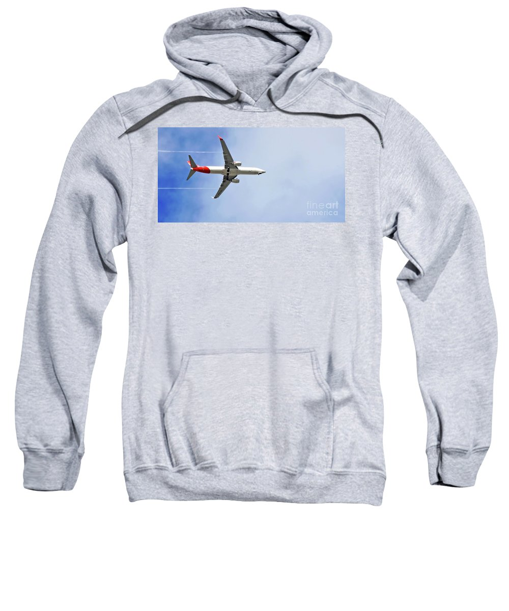 Photography Sweatshirt featuring the photograph Qantas In Flight by Kaye Menner