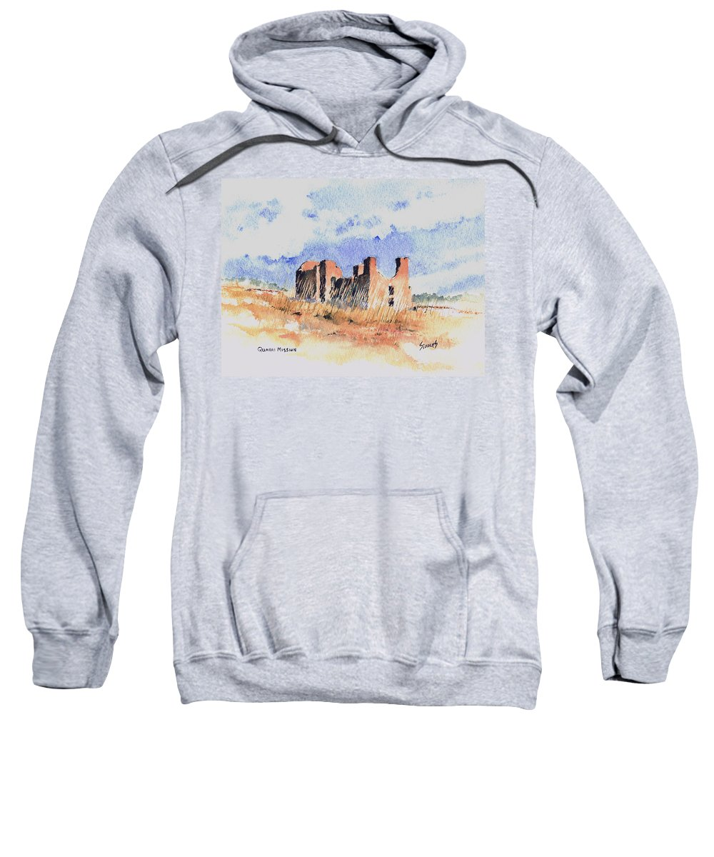 New Mexico Sweatshirt featuring the painting Quarari Mission by Sam Sidders