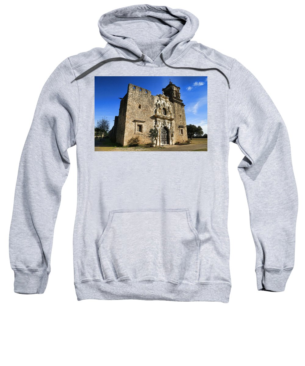 Texas Sweatshirt featuring the photograph Queen Of The Missions - San Jose by Stephen Stookey