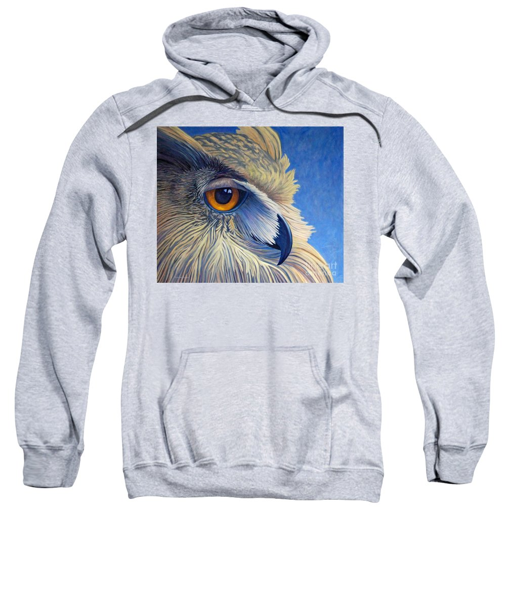 Owl Sweatshirt featuring the painting Quiet Joy by Brian Commerford