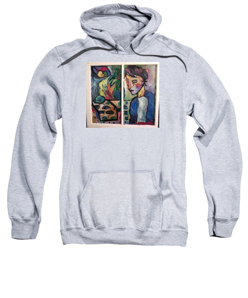 Still Life Sweatshirt featuring the painting Quiet Time Carter by Mykul Anjelo