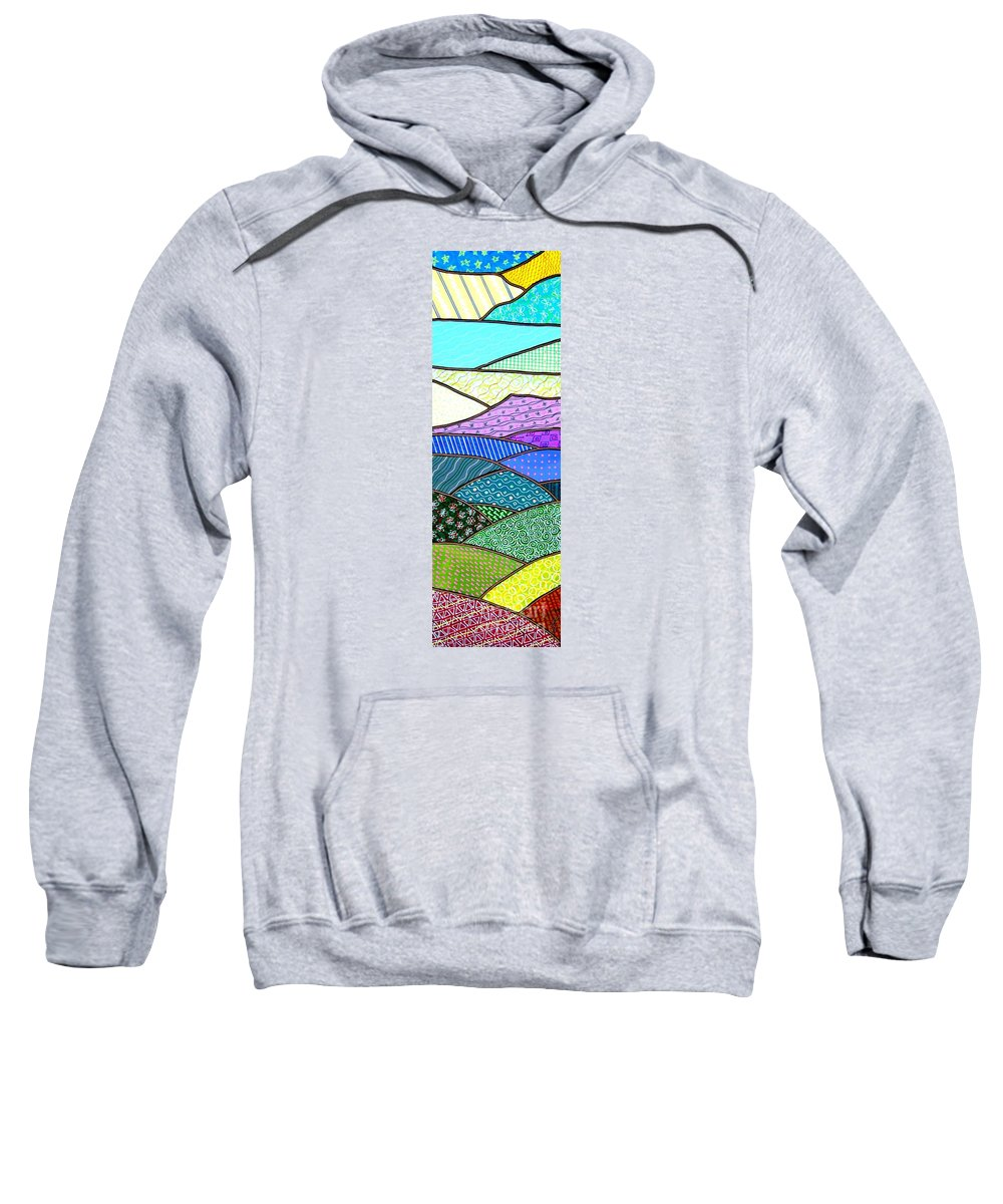 Mountain Sweatshirt featuring the painting Quilted Mountain by Jim Harris