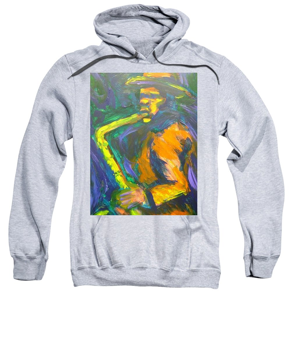 Painting Sweatshirt featuring the painting R-night Jam by Jan Gilmore