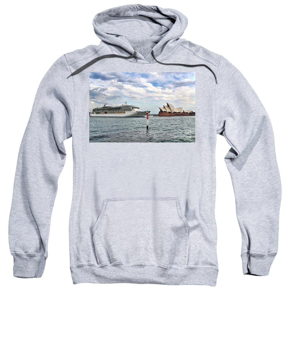 Radiance Of The Seas Sweatshirt featuring the photograph Radiance Of The Seas Passing Opera House by Kaye Menner
