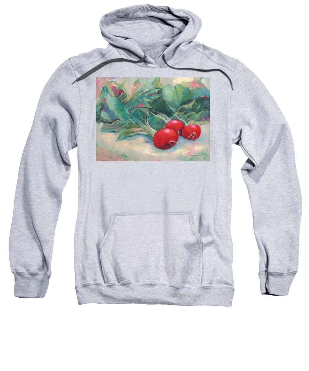 Radishes Sweatshirt featuring the painting Radishes by Ginger Concepcion