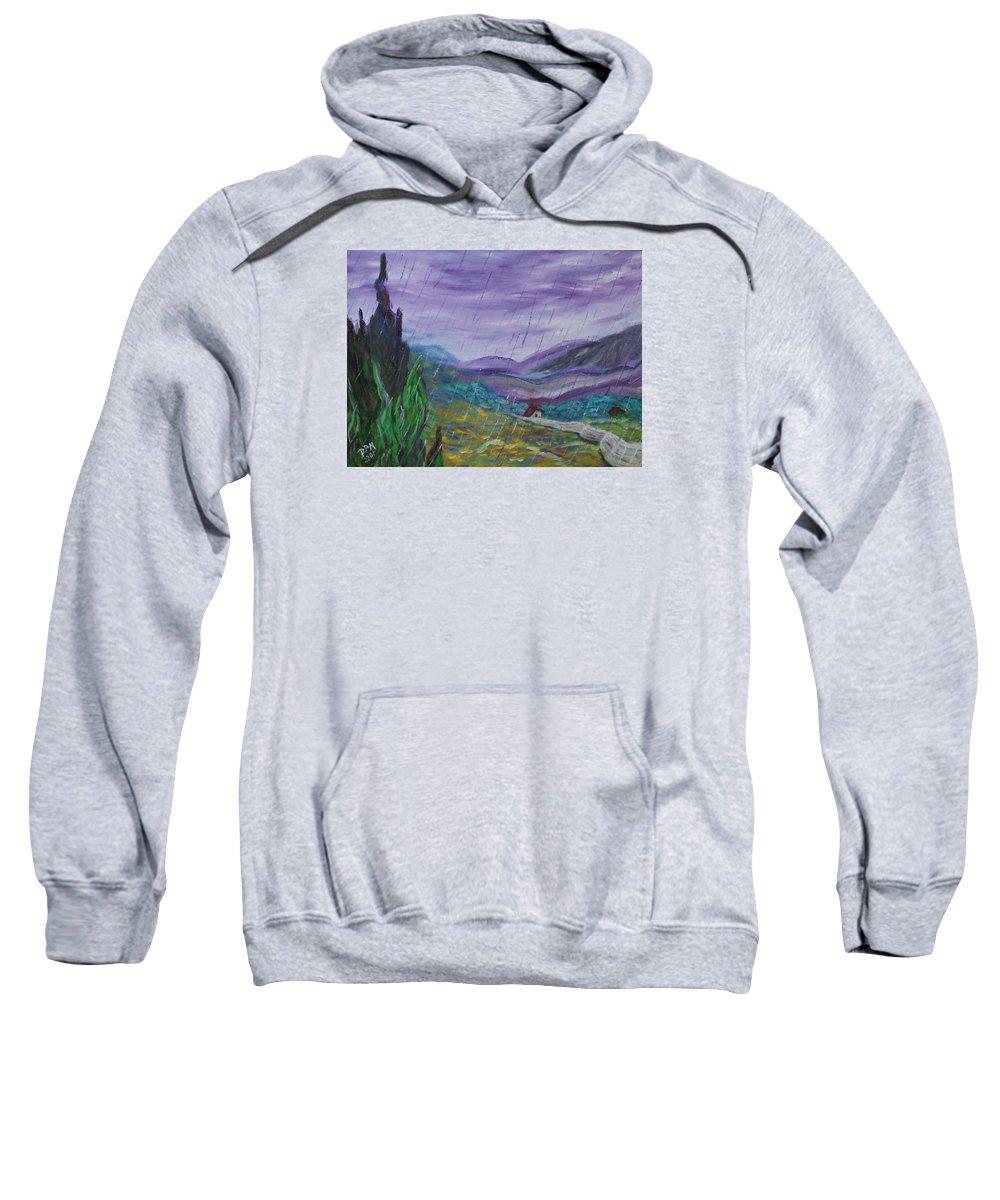 Rain Sweatshirt featuring the painting Rain by David McGhee