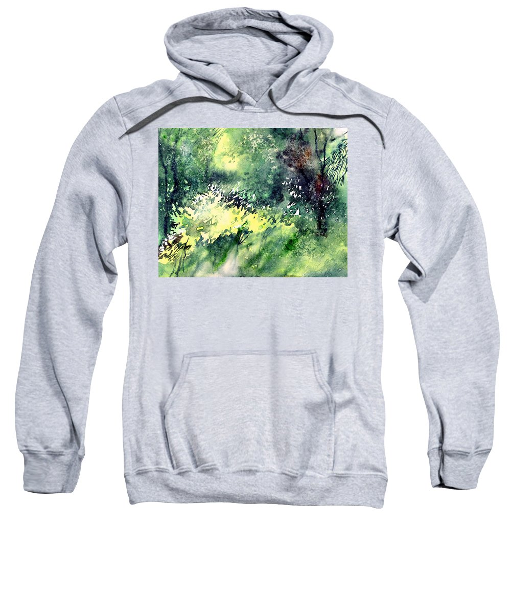 Landscape Watercolor Nature Greenery Rain Sweatshirt featuring the painting Rain Gloss by Anil Nene