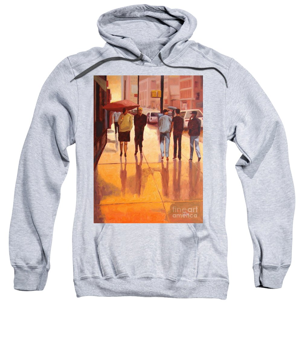 Manhattan Sweatshirt featuring the painting Rain In Manhattan Number Eighteen by Tate Hamilton