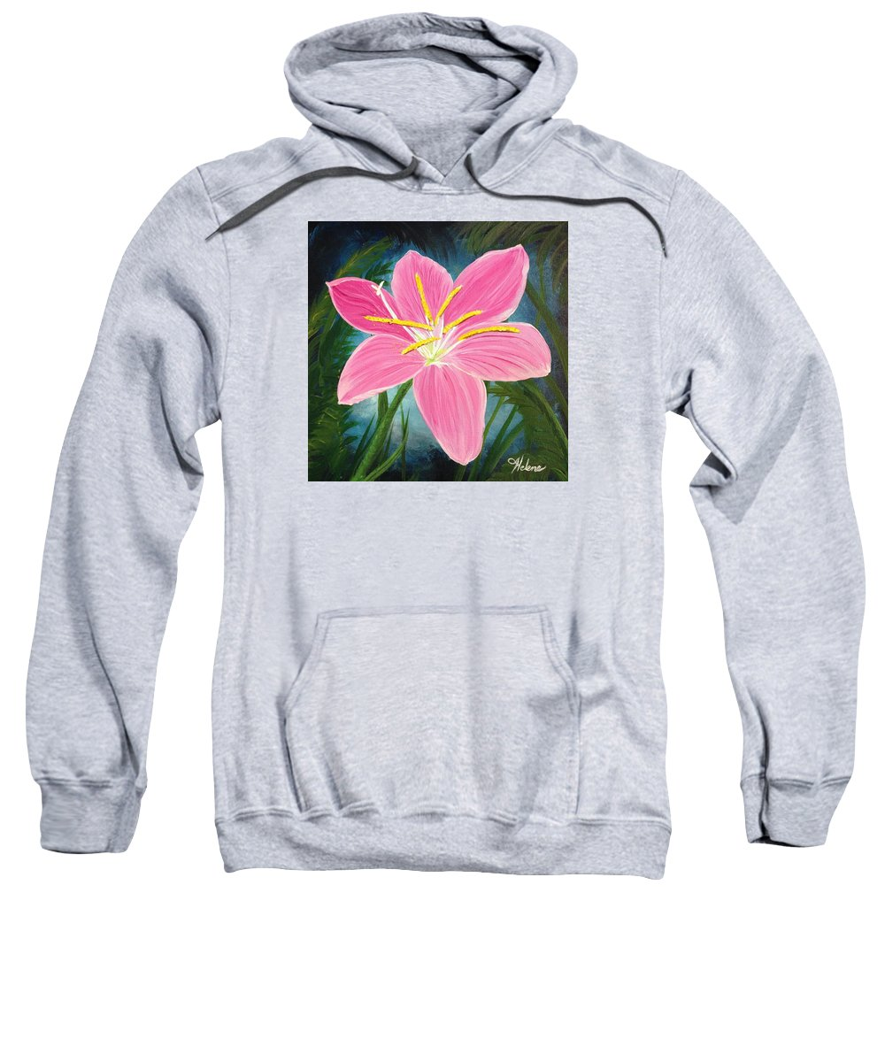 Flower Painting Sweatshirt featuring the painting Rain Lily by Helene Thomason