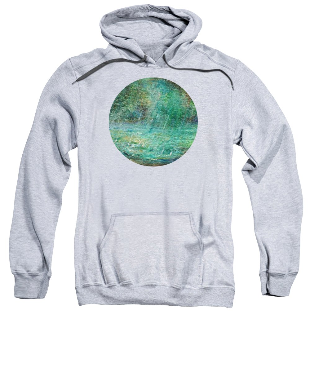 Landscape Painting Sweatshirt featuring the painting Rain On The Pond by Mary Wolf