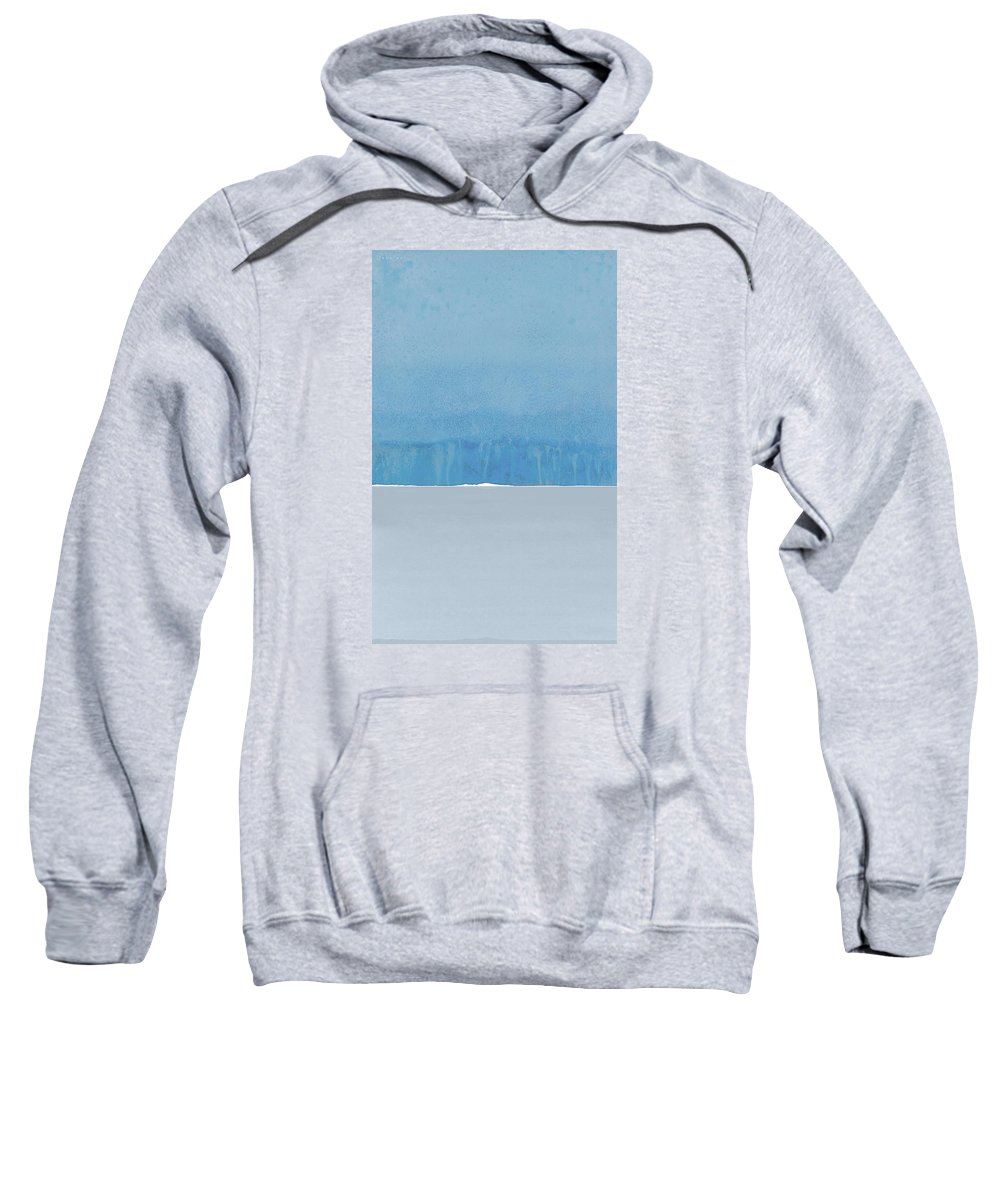 Blue Sweatshirt featuring the painting Rain Over Sete As Seen From Marseillan On Sunday by Jack Hall