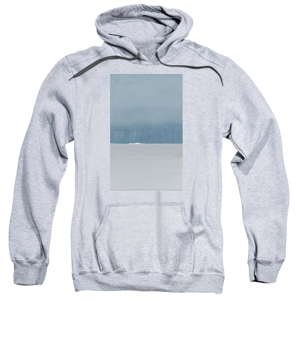 Blue Sweatshirt featuring the painting Rain Over Sete As Seen From Marseillan On Tuesday by Jack Hall