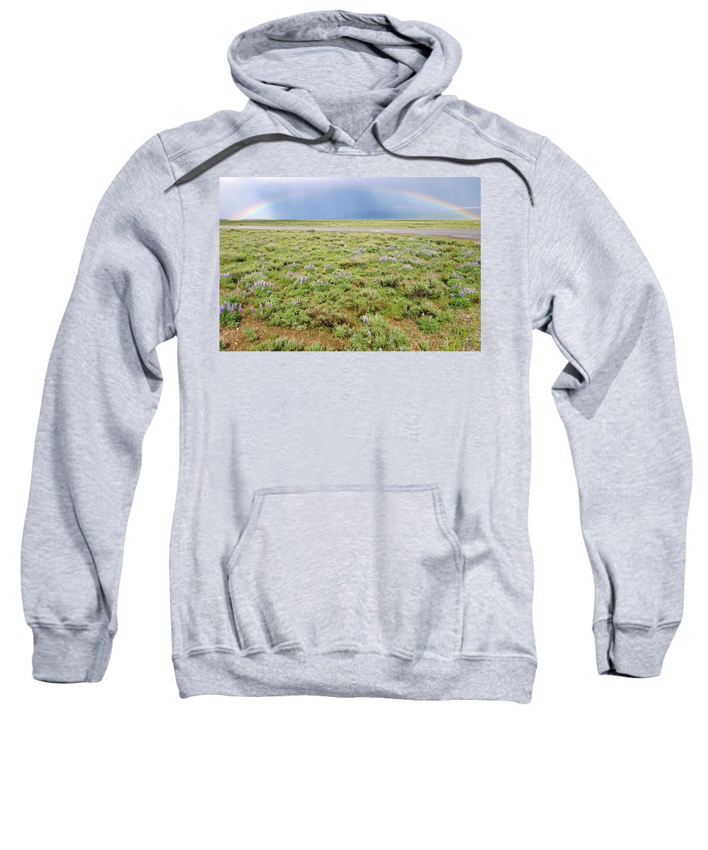 High Elevation Valleys Sweatshirt featuring the photograph Rainbow And Lupine, Grand Teton Nm, Wyoming by Robert Mutch