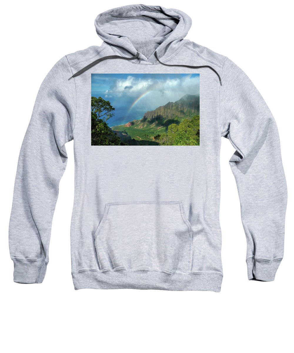 Landscape Sweatshirt featuring the photograph Rainbow At Kalalau Valley by James Eddy
