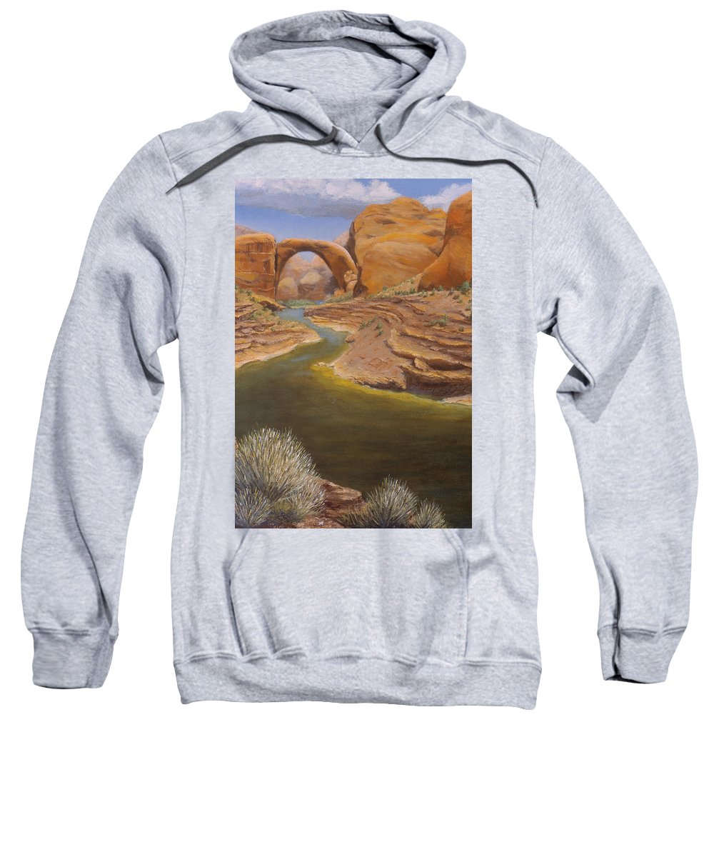 Rainbow Bridge Sweatshirt featuring the painting Rainbow Bridge by Jerry McElroy