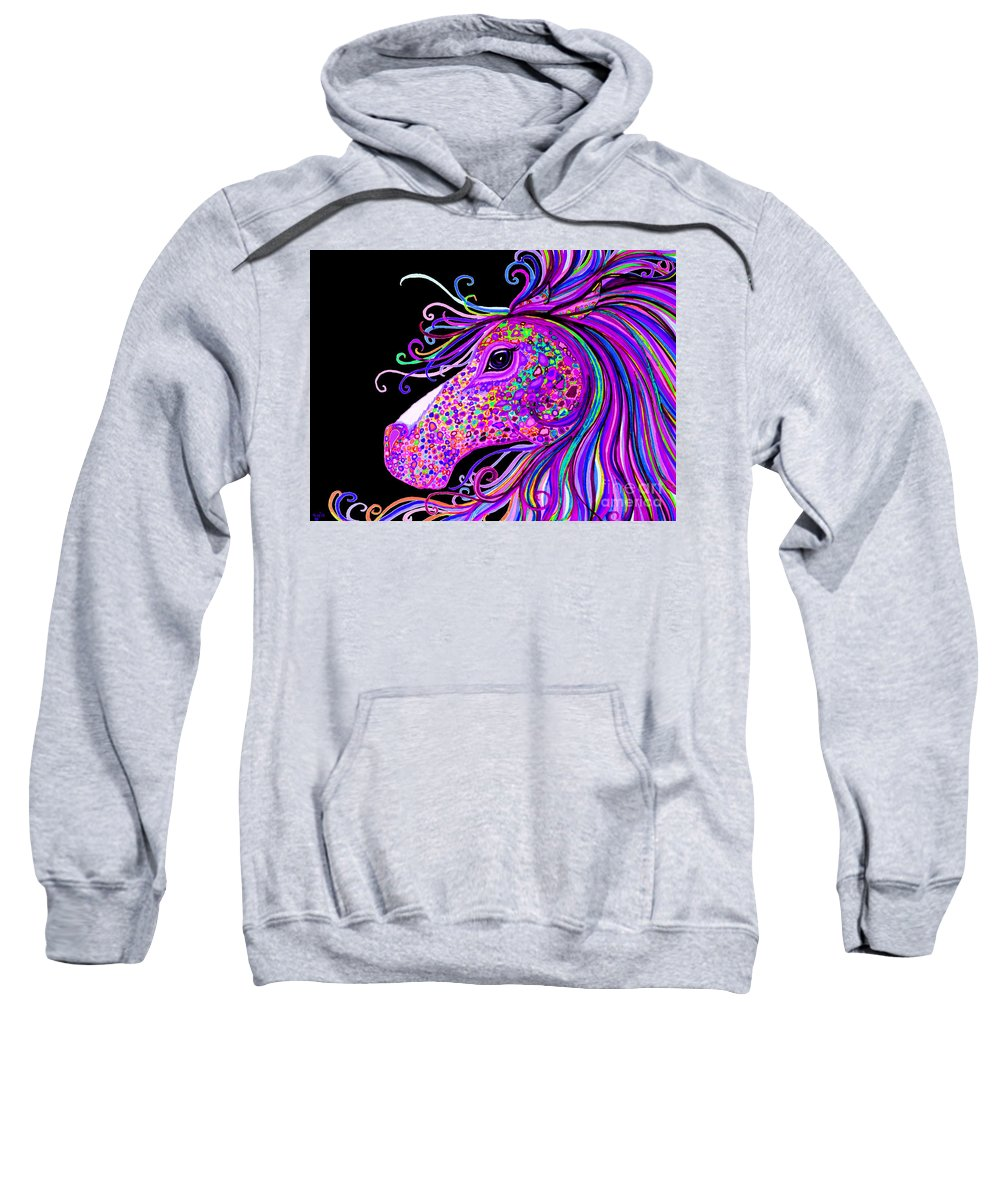 Horse Sweatshirt featuring the digital art Rainbow Spotted Horse Head 2 by Nick Gustafson