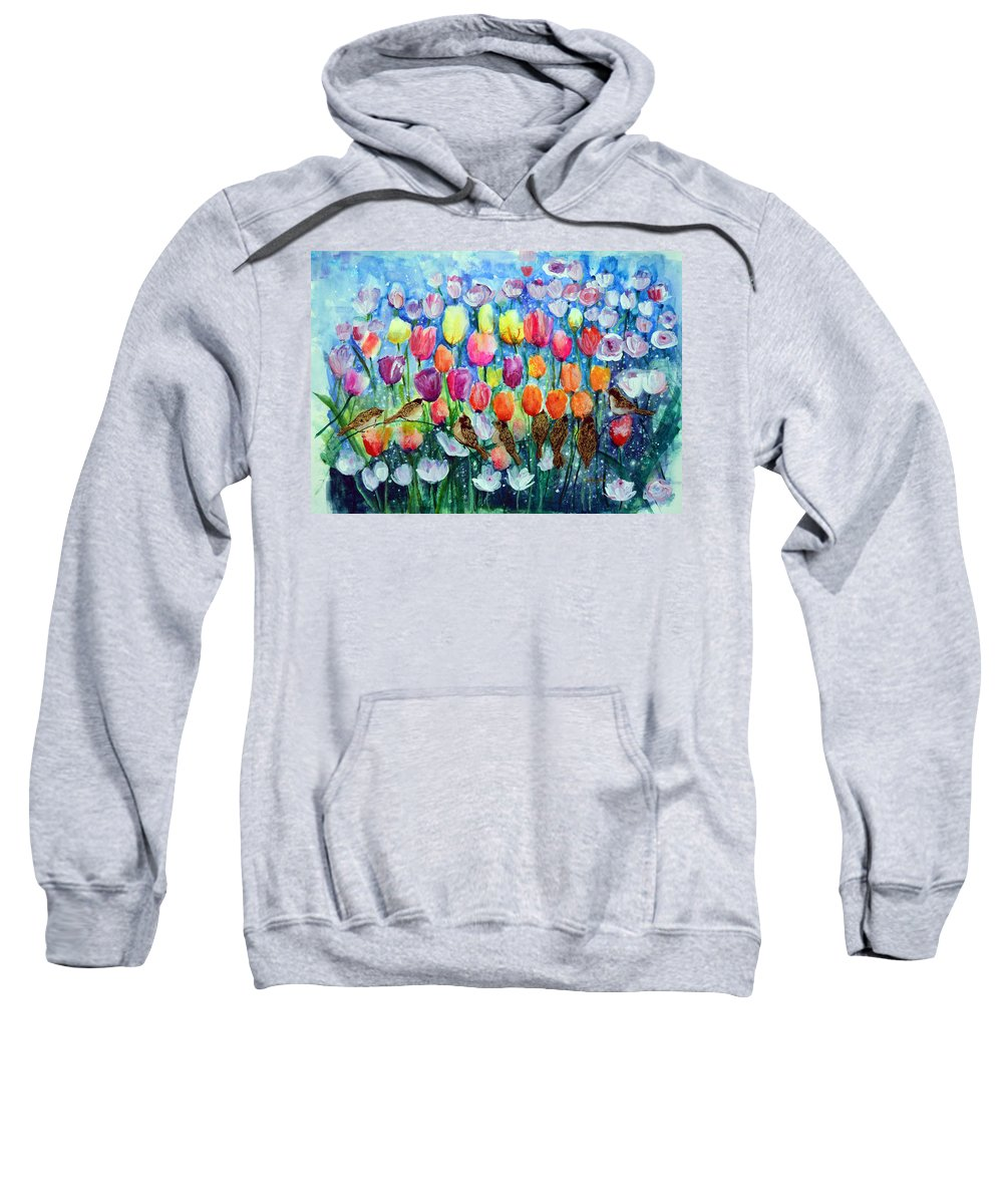 Sweatshirt featuring the painting Rainbow Tulips by Ashleigh Dyan Bayer