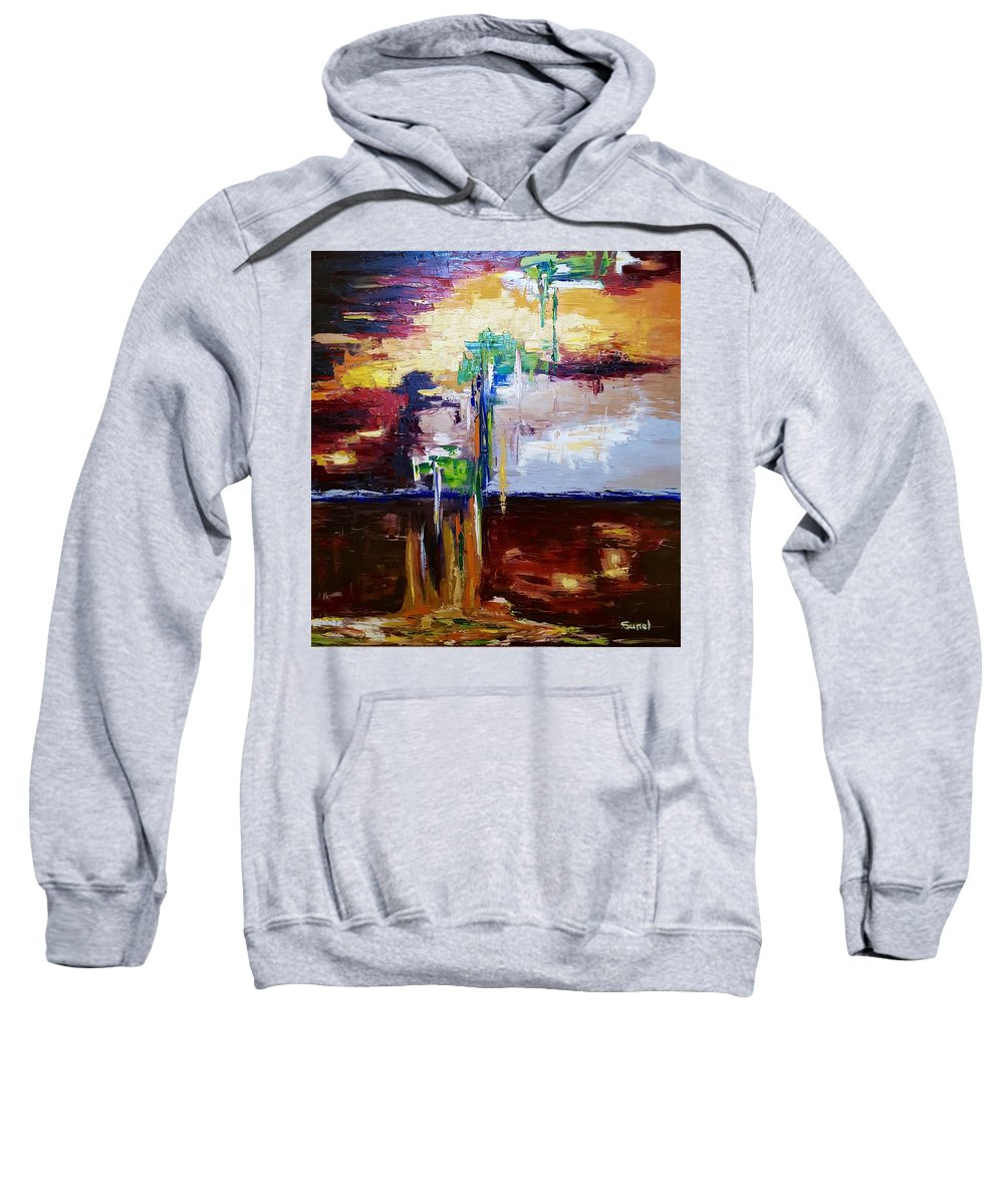 Abstract Sweatshirt featuring the painting Raining Colours by Sunel De Lange