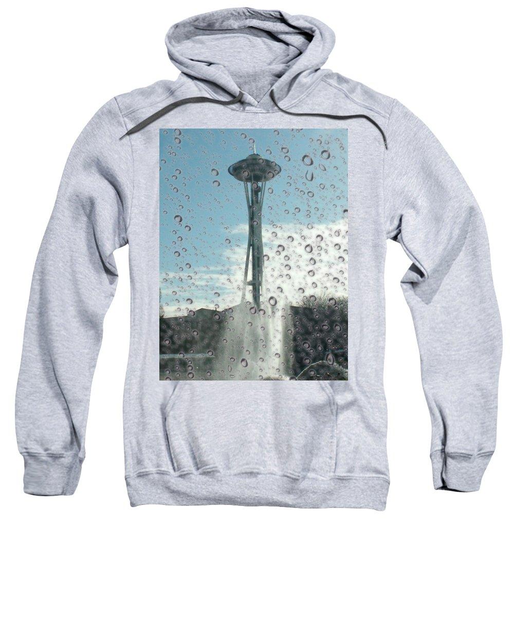 Seattle Sweatshirt featuring the photograph Rainy Window Needle by Tim Allen