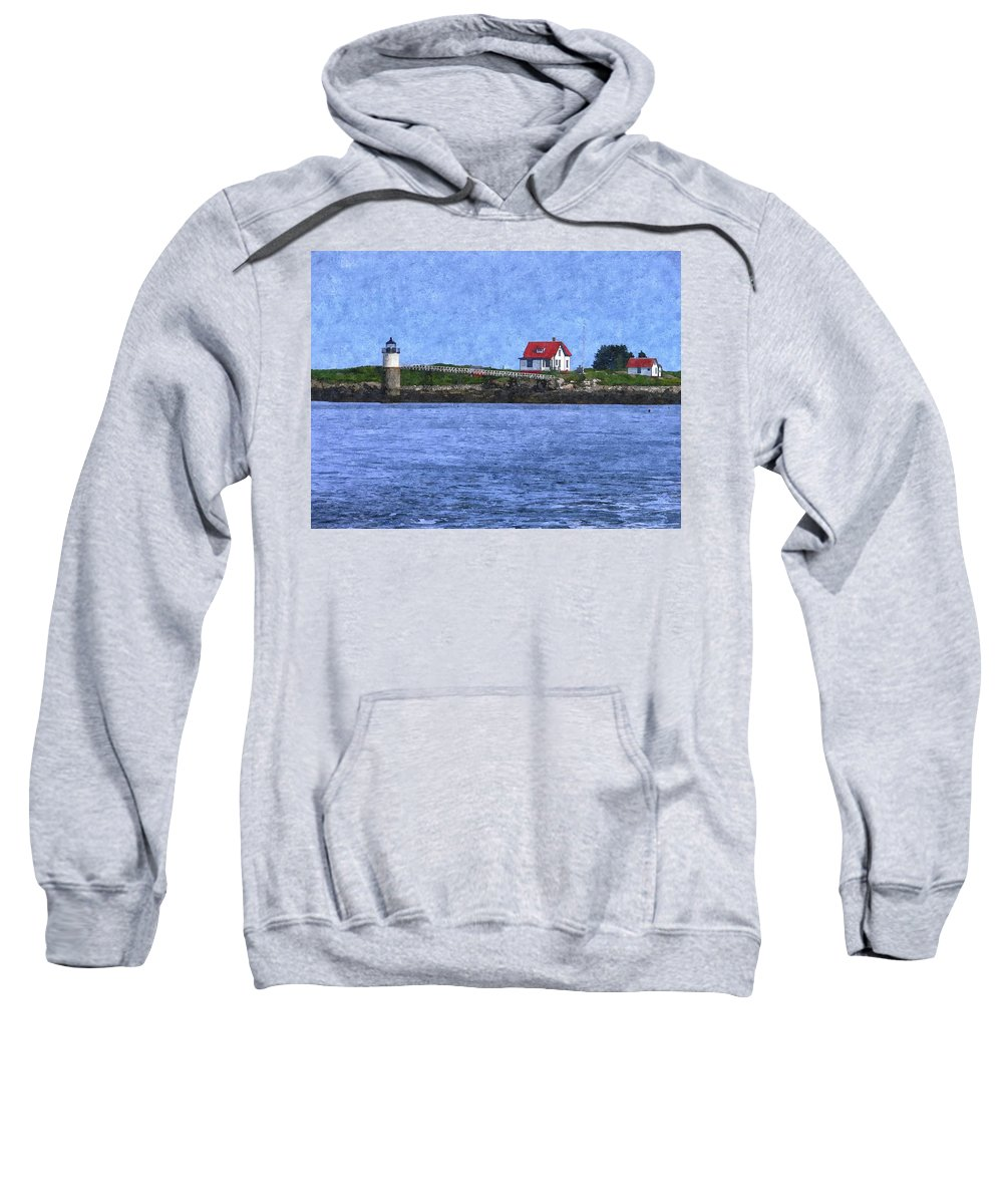 Ram Island Lighthouse Sweatshirt featuring the photograph Ram Island Lighthouse by Nancie DeMellia